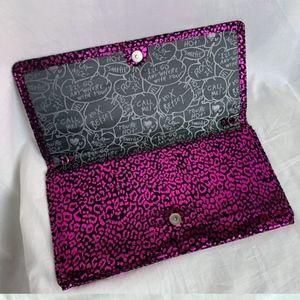 Betsey Johnson Pink & Black Leopard Large Clutch